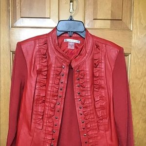 Peter Nygard red leather jacket M